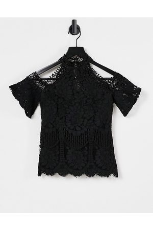 Lipsy Lace cold shoulder top in black