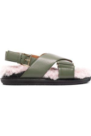 Marni Fluffy crossover strap sandals