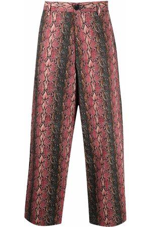 Goodfight Muži Rovné nohavice - Shoots & Ladders snakeskin-print trousers