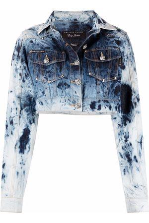 Philipp Plein Bleached-effect cropped denim jacket