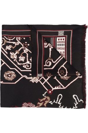 Etro Muži Šály a šátky - Geometric-print fringed-edge scarf