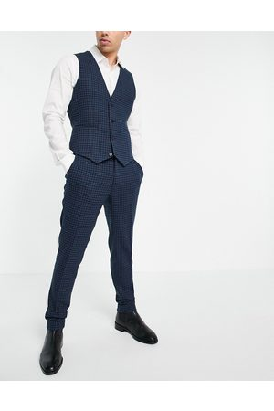 ASOS Super skinny wool mix suit trousers with multi grid check in navy