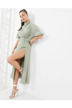 ASOS Cowl neck skater midi dress with open back in sage green