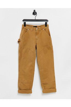 ASOS Utility straight leg trouser in tan-Neutral