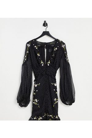 ASOS Curve ASOS DESIGN Curve spot printed mini dress with collar and embroidery detail-Black
