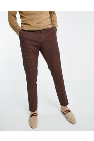 River Island Suit trousers in orange grid check