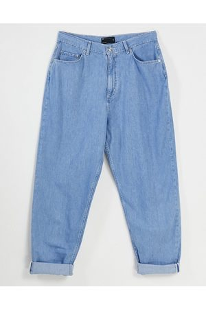 ASOS High rise lightweight 'slouchy' denim peg trouser in midwash-Blue