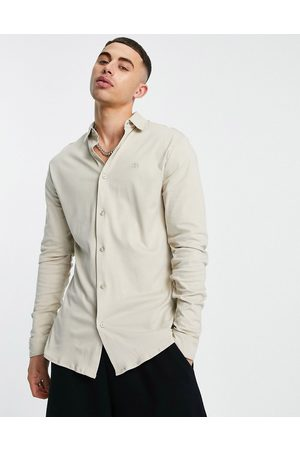 River Island Long sleeve jersey muscle fit shirt in stone-White
