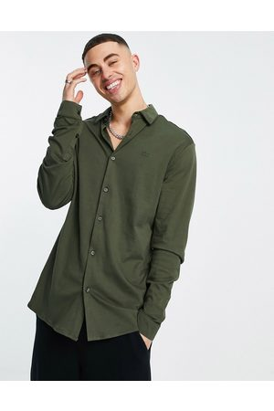 River Island Long sleeve jersey muscle fit shirt in khaki-Green
