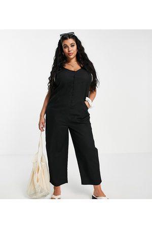 ASOS ASOS DESIGN curve button front linen minimal chuck on jumpsuit in black