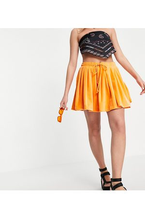 COLLUSION Pleated mini velour skirt co-ord in orange