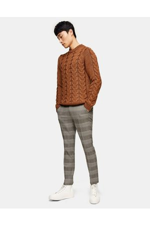 Topman Check trousers in black and white