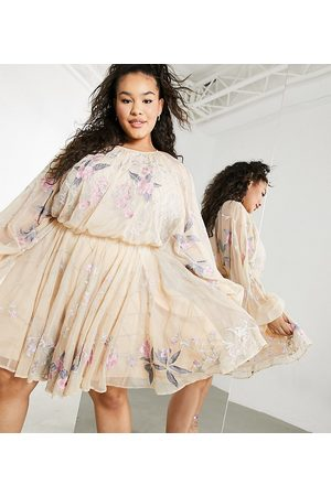ASOS Curve floral beaded mesh dress with balloon sleeve-Pink