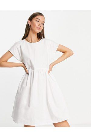 Vila Midi dress with bow tie back in white