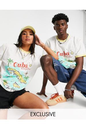Reclaimed Vintage Inspired unisex relaxed organic cotton t-shirt with Cuba print in off white