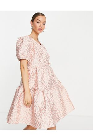 Y.A.S Jacquard mini smock dress in pink floral