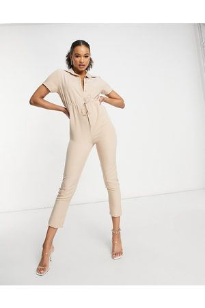 I Saw It First Elasticated waist utility jumpsuit in stone-Neutral