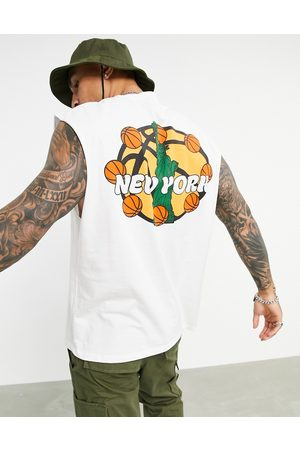 ASOS Oversized vest in white organic cotton with New York city basketball print