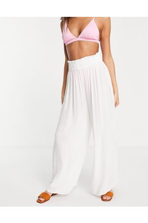 ASOS Crinkle wide leg palazzo beach trouser in white