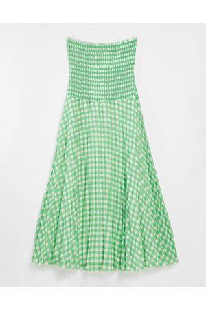 ASOS DESIGN Bandeau pleated maxi dress in gingham-Multi