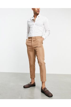 ASOS Tapered suit trousers in camel tonic-Neutral