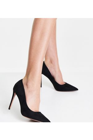 ASOS Wide Fit Penza pointed high heeled court shoes in black