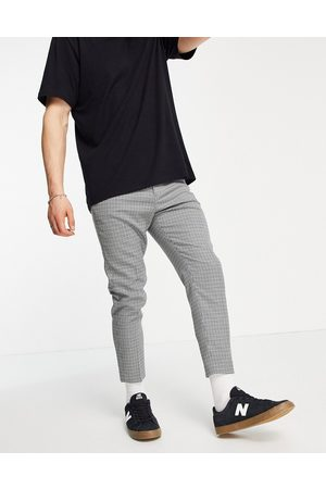 ASOS Tapered crop suit trousers in library check-Grey