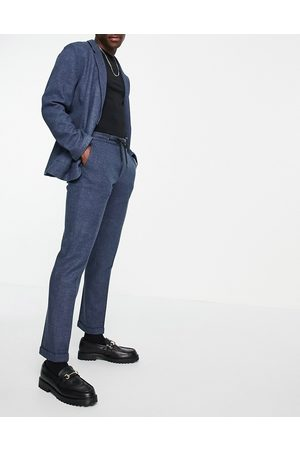 ASOS Muži Úzké nohavice - Slim soft tailored jersey suit trousers in navy wide twill and drawcord waist-Blue
