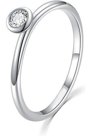 MOISS Půvabný stříbrný prsten s čirým zirkonem R00019 49 mm