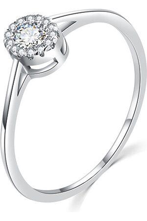 MOISS Prstýnky - Luxusní stříbrný prsten s čirými zirkony R00020 49 mm