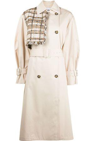 Msgm Tweed panel trench coat