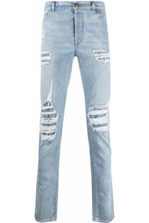 Balmain Muži Rovné nohavice - Distressed straight-leg jeans