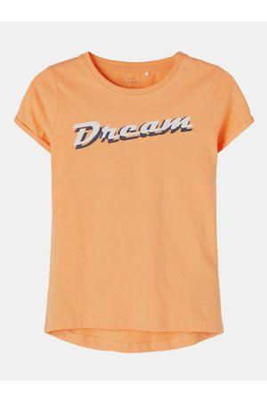 NAME IT Oranžové holčičí tričko s potiskem Vix