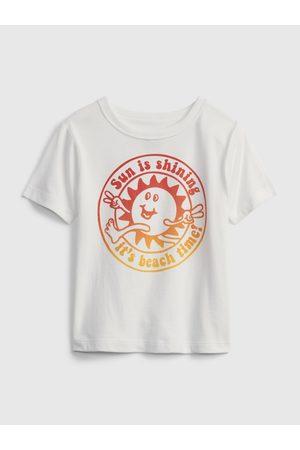 GAP Bílé klučičí dětské tričko short sleeve graphic t-shirt