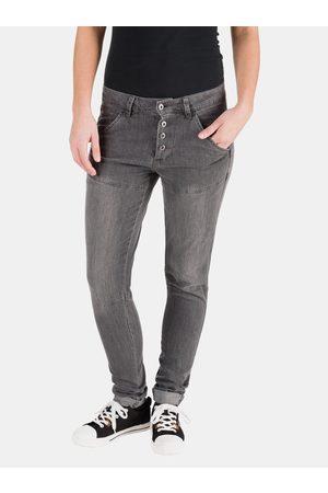 sam 73 Tmavě šedé dámské slim fit džíny