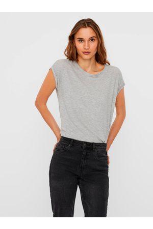 VERO MODA Šedé volné žíhané basic tričko s krátkým rukávem Ava