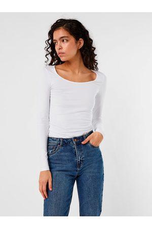 VERO MODA Bílé dlouhé basic tričko s dlouhým rukávem Maxi My
