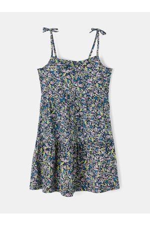 NAME IT Modré holčičí květované šaty na ramínka Zoey