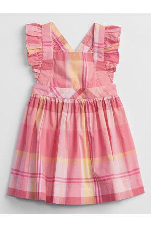 GAP Růžové holčičí baby šaty plaid dress
