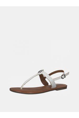 Tamaris Bílé kožené sandály