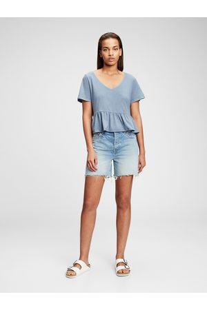 GAP Modré dámské tričko short sleeve vintage peplum t-shirt