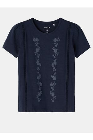 NAME IT Tmavě modré holčičí tričko s potiskem Hedviig