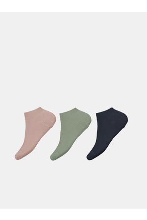 NAME IT Sada tří párů holčičích ponožek v modré a růžové barvě Vira