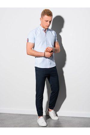 Ombre Clothing Pánská košile s krátkým rukávem K489 - blankytná