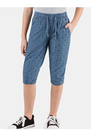 sam 73 Modré holčičí vzorované 3/4 kalhoty