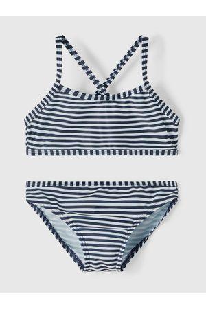 NAME IT Bílo-modré holčičí pruhované dvoudílné plavky Felisia