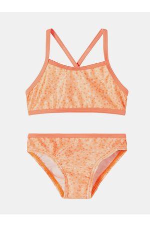 NAME IT Dívky Dvoudílné plavky - Oranžové holčičí vzorované dvoudílné plavky Felisia