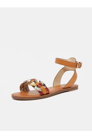 Aldo Hnědé dámské vzorované kožené sandály Ligaria