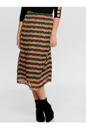 ONLY Oranžovo-zelená vzorovaná midi sukně Sheri