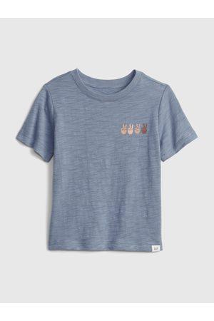 GAP Modré klučičí dětské tričko short sleeve graphic t-shirt